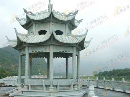 寺庙八角凉亭