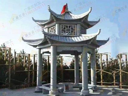 青石寺庙凉亭
