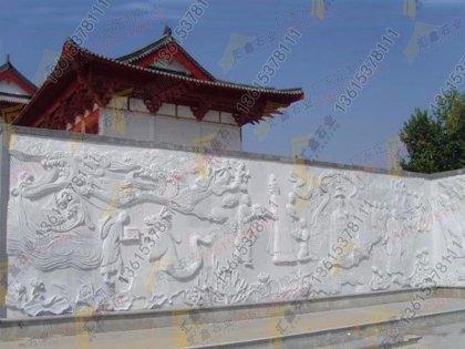 雪花白石材浮雕壁画